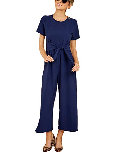 - Qearal Womens Jumpsuits Wide Leg Belted Zipper Capri Loose Chiffon Jumpsuit Rompers M Navy Blue