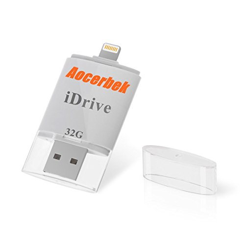 USB Flash Drive for iPhone 32GB Aocerbek Thumb Drive Pen Drive Memory Stick External Storage Memory Expansion for iPhone iPad iPod iOS Windows Mac Computer to Lightning Adapter(32GB)
