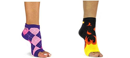 Freetoes Toeless Sock X 2 Pair (1- Flame ,1-Pink Purple Argyle)