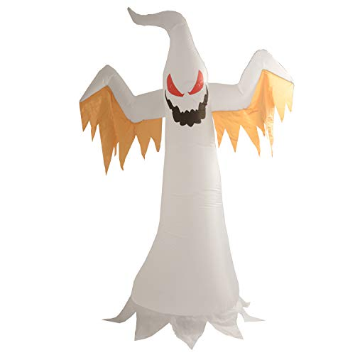 Phoenixreal 8 Foot Halloween Inflatable Air Blown White Ghost with Red Eye Lighted for Home Yard Garden Indoor and Outdoor Decoration by Phoenixreal (Image #1)