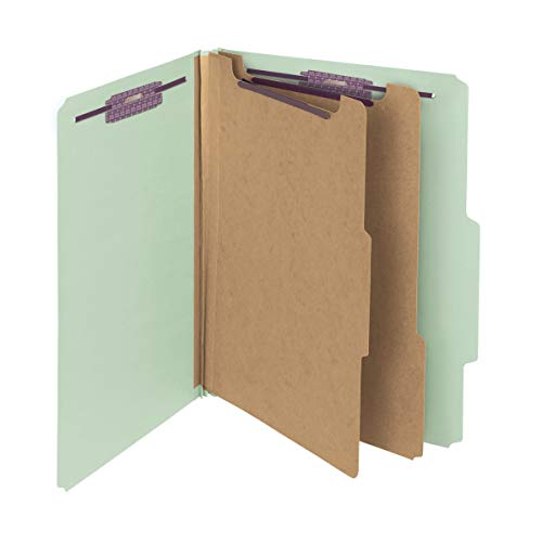 "Smead Pressboard Classification File Folder with SafeSHIELD Fasteners, 2 Dividers, 2"" Expansion, Letter Size, Gray/Green, 10 per Box (14076) from Smead"