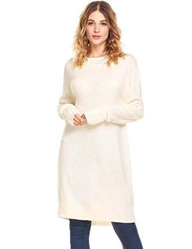 ng Sweaters Loose Knit Turtleneck Tunic Sweater Dress Tops White XL ()