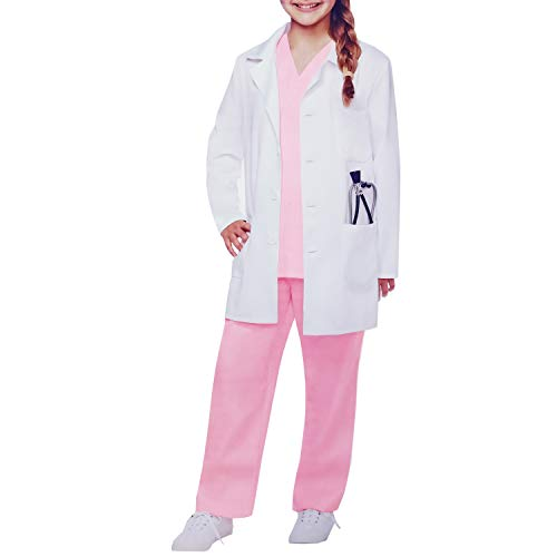 Doctor Halloween Costume Girl (Kids White Lab Coats Suits Dress up Costumes for Scientists or Doctors (Include Coat, Top and Pants))