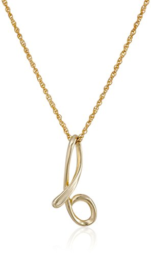 """14k Gold Over Sterling Silver """"B"""" Cursive Initial Pendant Necklace, 18"""""""