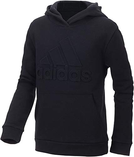 adidas Boy's Exclusive Embossed Logo Hoodie (Black, Large) by adidas (Image #1)