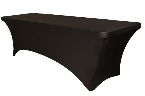 Black Spandex Table Cover 8 ft feet Rectangular Stretch Fitted Tablecloth by Party Set Go - Polyester Blended Fabric, Stain & Wrinkle Free for Weddings, Events & Parties - Low Price