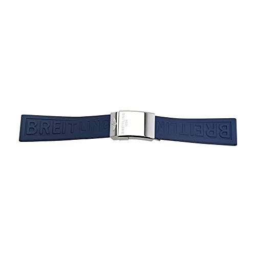 Strap Rubber Breitling (Breitling Blue Rubber Strap with a Stainless Steel Deployment Buckle 24-20 MM)