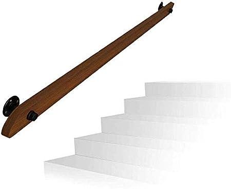 Barandillas Barandilla de la escalera barandilla pasamanos Kit completo. Barandilla de hierro forjado con soportes, pasamanos de escaleras de madera maciza for interiores y exteriores de montaje en par: Amazon.es: Hogar