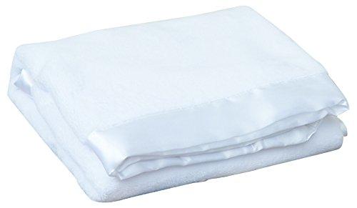 Terry Town KP1706-White-1 Satin Trim Tahoe Microfleece Baby Blanket, White
