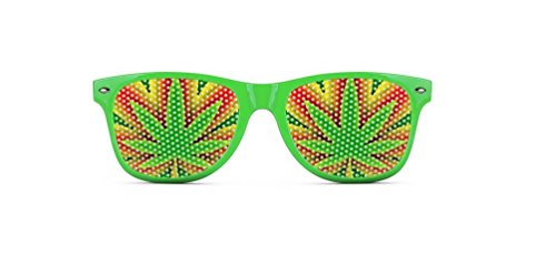Weed Sunglasses - Funny Wayfarer Shades - Green Leaf - Sunglasses Outrageous