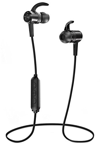 Bluetooth Headphones ZAOX Sports Wireless Earbuds 9 Hours 4.2 Magnetic Lightweight & Fast Pairing (cVc 6.0 Noise Cancelling Mic, Snug Silicon Earphones, Magnetic Design) (Black)