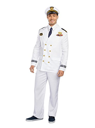 Dreamguy by Dreamgirl Men's The Captain Costume, Red, Medium