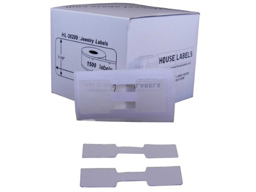 Houselabels Dymo-Compatible Jewelry Price Tags, Barbell Style, 1500 Labels per Roll - White Jewelry Labels