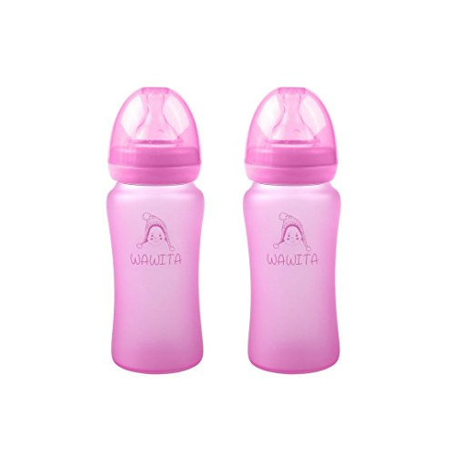 - Wawita Glass Baby Bottle with Protective Silicone, Anti-Colic System and Soft Medical Breast-Like Silicone Nipple, Lightweight, BPA Free, Natural Breastfeeding Bottle, Medium Flow, Pink 8 oz, 2 Count