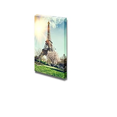 Canvas Prints Wall Art - Springtime in Paris Eiffel Tower Retro Style | Modern Wall Decor/Home Decoration Stretched Gallery Canvas Wrap Giclee Print & Ready to Hang - 36