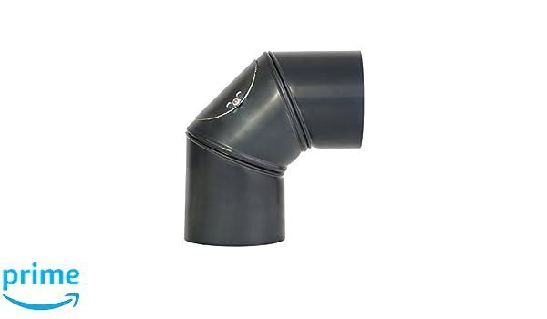 Kamino - Flam - Codo con puerta para chimenea o estufas de leña (Ø 120 mm/ángulo 90°C) Codo vitrificado, Codo de escape - resistente a altas temperaturas ...