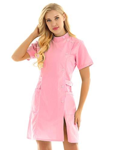 inhzoy Women's Solid Color Short Sleeve Slanting Button Hospital Nurse Scrub Lab Coat Uniform Dress Pink Medium]()