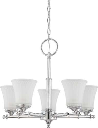 Chandelier 1 Tier Frosted Glass - Nuvo Lighting 60/4265 Five Light Teller Chandelier with Frosted Etched Glass, Polished Chrome