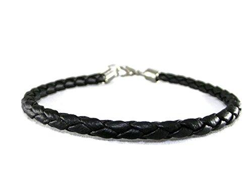 Chillvery Mens Vintage Slim Leather Black Rope Bracelets