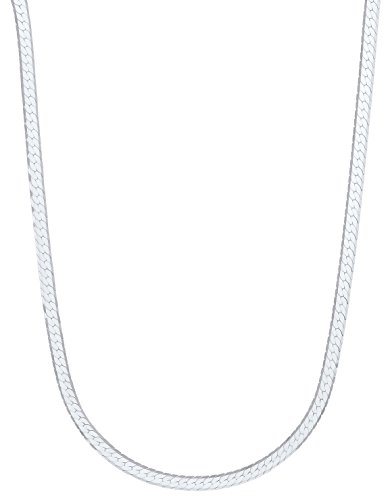 5.1mm 925 Sterling Silver Herringbone Chain Necklace, 18 Inch - Made in Italy + Bonus Polishing (Beveled Herringbone Necklace Chain)