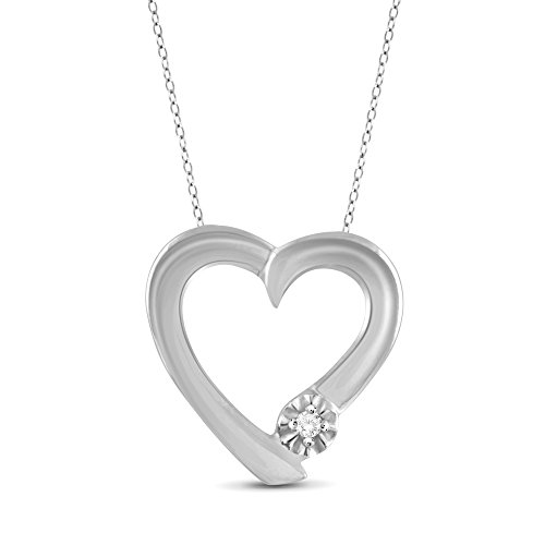 True Love White Diamond Accent Sterling Silver Heart Pendant