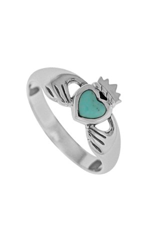 Boma Sterling Silver Turquoise Claddagh Ring, Size 7