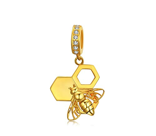 (EVESCITY Stunning Quality Many Styles Silver Pendents 925 Sterling Beads Fits Pandora, Similar Charm Bracelets & Necklaces (Bumble Bee Honeycomb Gold))