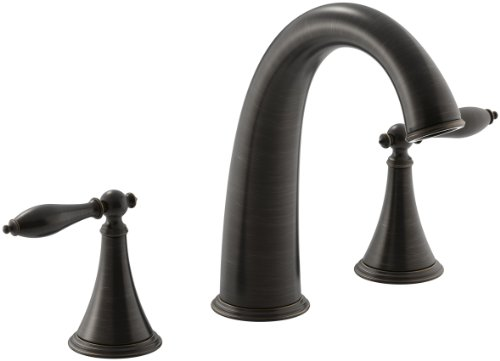 KOHLER T314-4M-2BZ Finial Traditional Deck-Mount Bath Faucet Trim for High-Flow Valve with Lever Handles without Valve, Oil-Rubbed Bronze