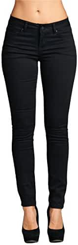 Vialumi Womens Juniors Solid Stretch Fit Five Pocket Skinny Jeans Sizes 0-17