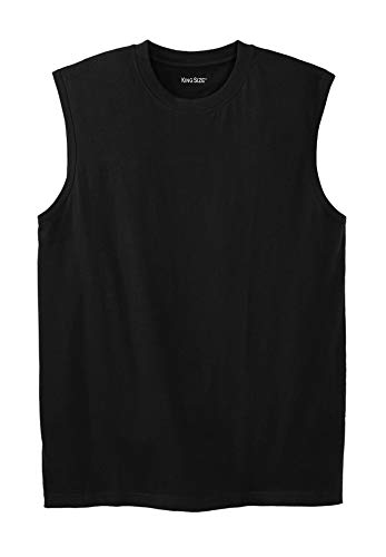KingSize Men's Big & Tall Lightweight Cotton Muscle Shirt, Black Tall-2Xl