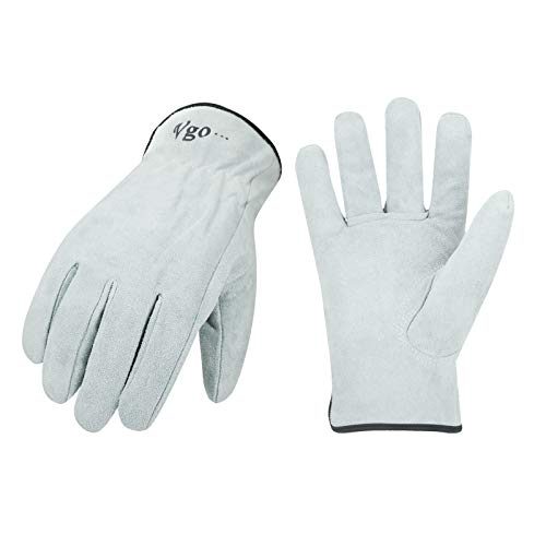 Vgo 1-Pair Unlined Cowhide Split Leather Work and Driver Gloves, for Heavy Duty, Truck Driving, Warehouse, Gardening, Farm (Size XL, White, CB9501)