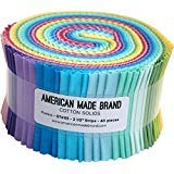 (American Made Brand Cotton Solids Pastels Strip Roll 40 2.5-inch Strips Jelly Roll )
