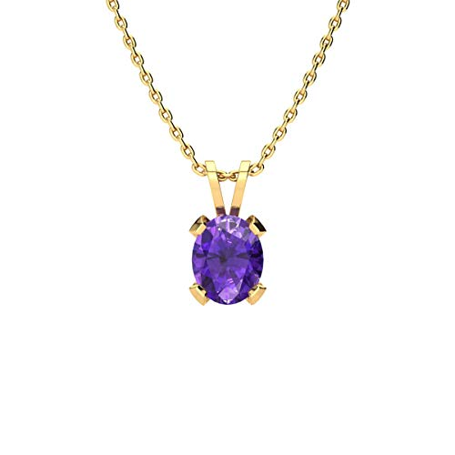 - 1 Carat Oval Shape Amethyst Necklace In Yellow Gold Over Sterling Silver, 18 Inches