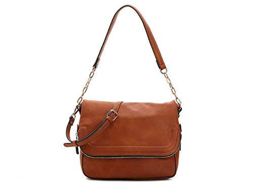 Vegan Leather Crossbody Bag, Faux Leather Purse with Adjustable Shoulder Strap and Zipper Closure, Shoulder Bag, Urban Expressions, Maisy, Cognac (Urban Expressions Flap)