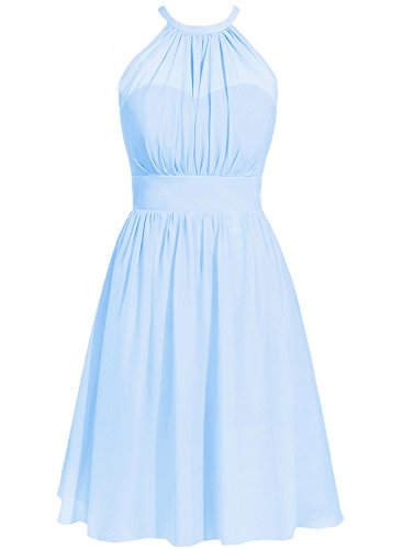 Short Cdress Guest Sky Wedding Halter Prom Dresses Chiffon Blue Gowns Party Bridesmaid 55n8Owq7vr