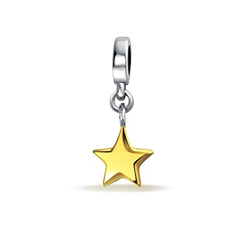 Patriotic Rock Star Dangle Two Tone Charm Bead For Women Teens 14K Gold Plated Sterling Silver Fits European Bracelet