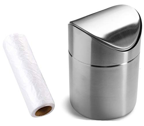 Top Waste Bin - Mini Countertop Brushed Stainless Steel Swing Lid Trash Can Set, Come with Trash Bag, 1.5 L / 0.40 Gal, 3 Color Options, Silver
