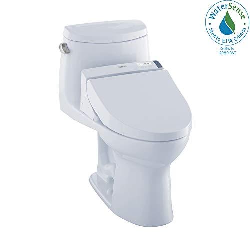 TOTO MW6042044CEFG#01 WASHLET+ UltraMax II One-Piece Elongated 1.28 GPF Toilet and WASHLET C200 Bidet Seat, Cotton White