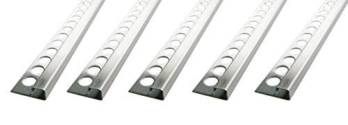 Fuchs Tile Trim Premium 9 mm Square Edging Made of V2A Stainless Steel in Brushed Modern Tail Rim Edge protection10 x 2,5 m(=25 Meter)