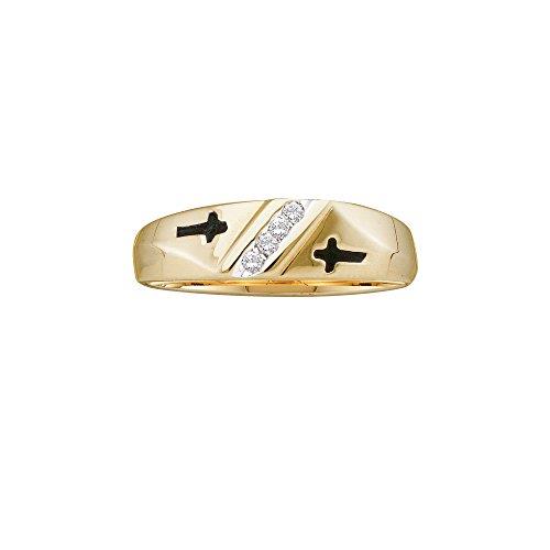 10kt Yellow Gold Mens Round Diamond Single Row Cross Wedding Band 1/20 Cttw by JAWAFASHION