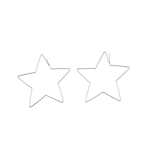 F-U Star Hoop Earrings Large Geometric Dangle Hoops Earrings Silver Plated Fashion Earrings Women
