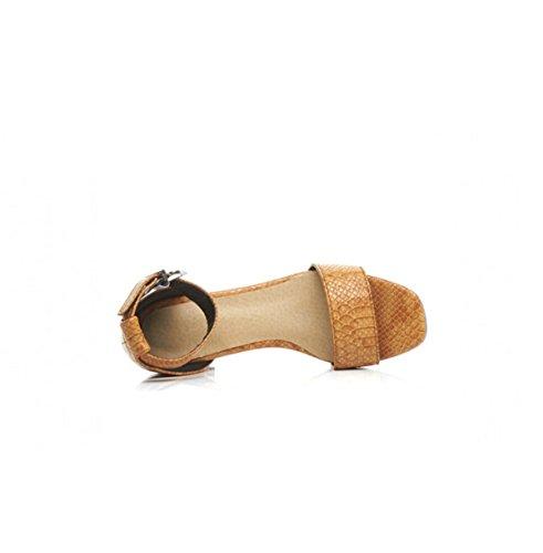 Arbeiten Sie Geöffnete Zehe Starke Ferse Schnalle Schuhe Yellow
