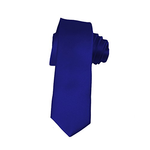 (Skinny Royal Blue Tie 2 Inch Solid Mens Tie Satin by K. Alexander,One Size,Royal Blue)