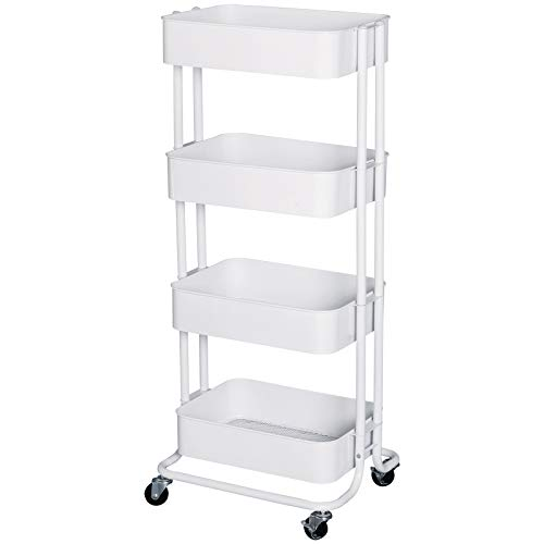 HOMCOM 4-Tier Rolling Metal Kitchen Utility Cart Trolley with Storage - White from HOMCOM