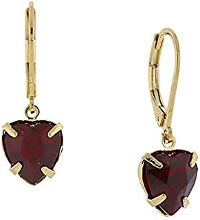 product image for 1928 Jewelry 14K Gold-Dipped Petite Siam Red Crystal Heart Earrings