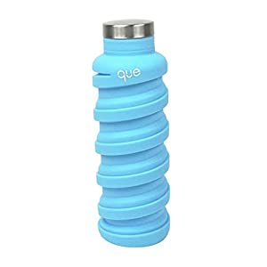 que Bottle - Collapsible Water Bottle. BPA-Free, Leak Proof, Lightweight Travel Bottle. 20oz - Iceberg Blue