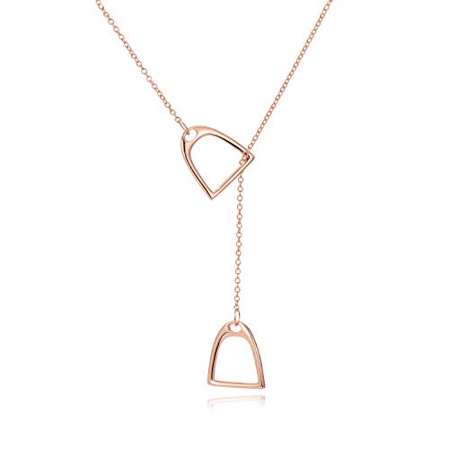 YFN Horse Gift Jewelry 925 Sterling Silver Simple Double Horse Strirrup Lariat Necklace Horse Gift for Women Girls (Rose Gold Horse Jewelry)