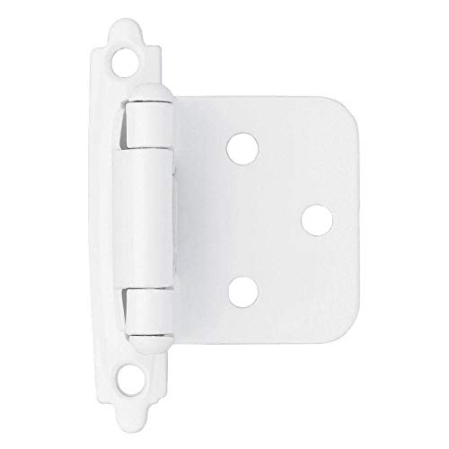 50pcs Self Closing Overlay Flush Cabinet Hinges - White My