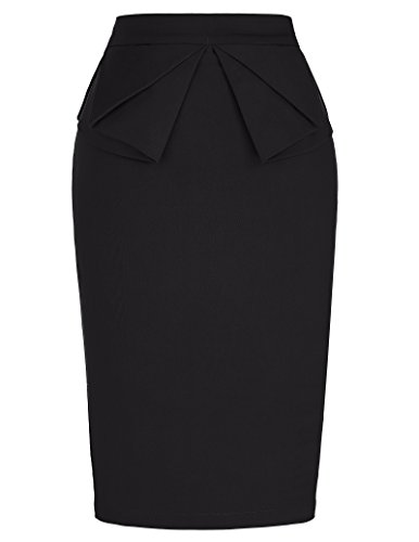 Solid Slim Stretchy Pencil Skirt for Women Knee Length Black (M) KL-1 CL454