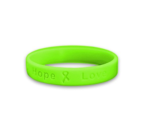 Lymphoma/Muscular Dystrophy Lime Green Ribbon Hope Silicone Bracelets (3 pack)